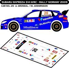 DECALS 1/43 SUBARU IMPREZA WRC #20 - GRONDAL -RALLYE DE NORVEGE 2009 -MFZ D43180
