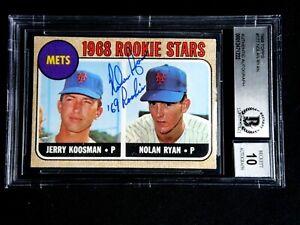 NOLAN RYAN 68 ROOKIE SIGNED BECKETT GRADE 10 GEM MINT 1968 TOPPS ROOKIE CARD 177
