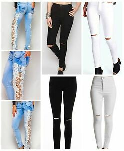 97d6b441d73a2 LADIES JEGGINGS LOOK RIPPED KNEE CUT HIGH WAIST GIRLS SKINNY JEANS ...