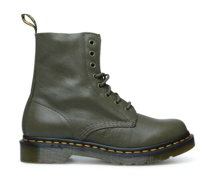 Dr Martens 1460 Pascal Virginia Leather Boots Grenade Green Woman US 6 NEW $135