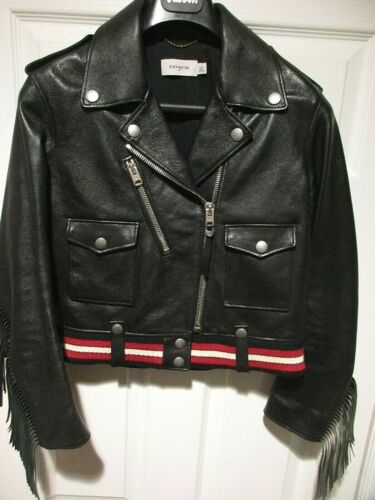 COACH FRINGED MOTO WOMENS JACKET LEATHER RARE EDIT