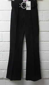 Children Kids Girls New Black Belted Stretchy Bootleg School Trousers 8-15 Yrs