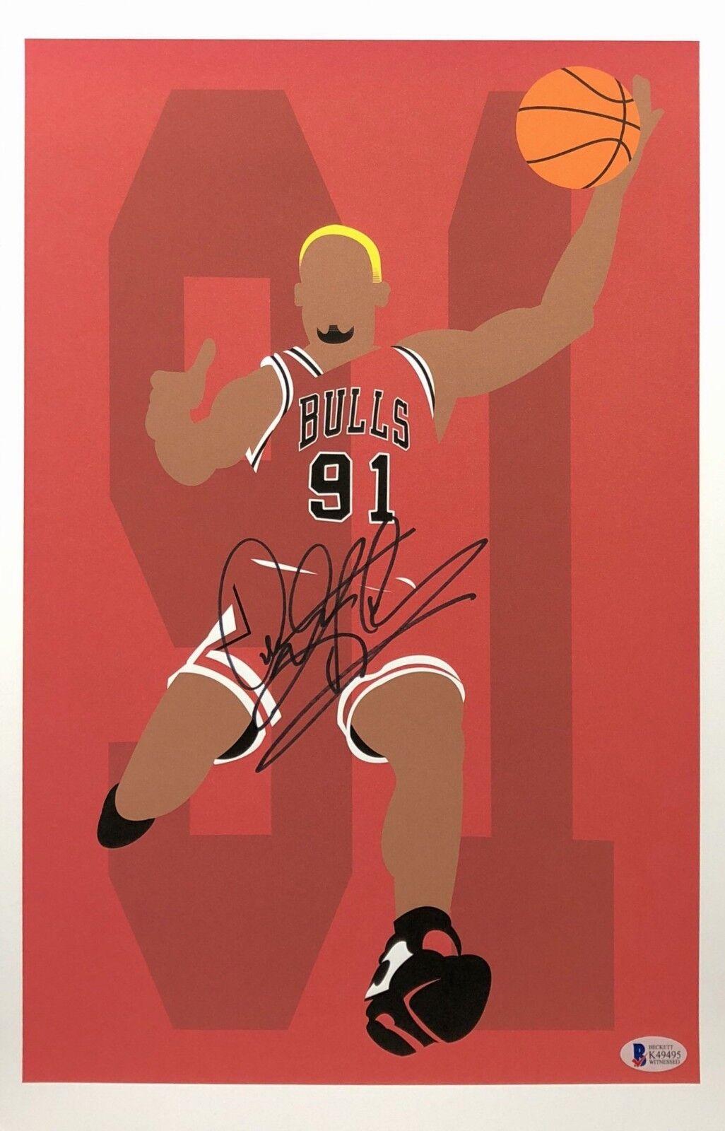 Dennis Rodman Signed Chicago Bulls Basketball 11x17 Print BAS Beckett K49495