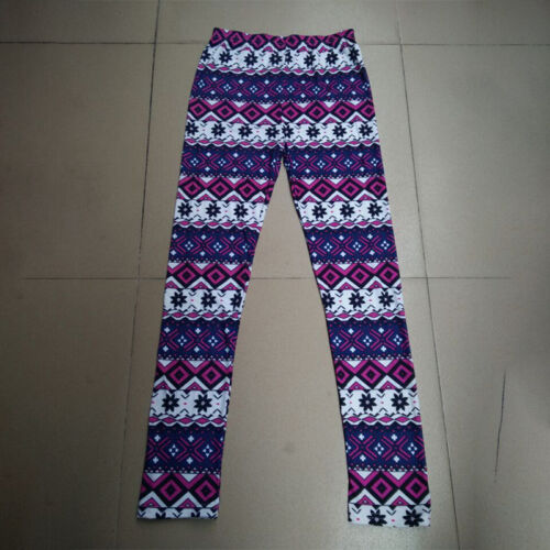 Women Print Long Warm  Knitted Cute Causal Jeggings Trouser Pant Thermal Thick