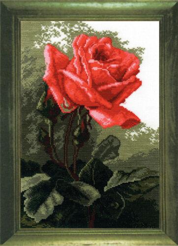 Pink Rose Cross Stitch Kit with Color Symbolic Scheme SKU:443