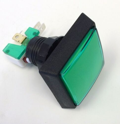 LARGE  SQUARE LIGHTED  PUSH BUTTON 14V # 161  LAMP GREEN LENS