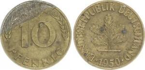 Frg 10 Pfennig 1950 F Lack Coinage: Wertseite To 20% Vf-Xf 25496