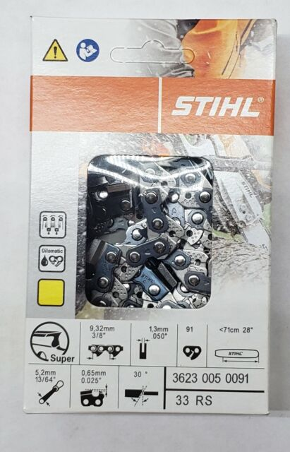 """28/"""" STIHL Chainsaw Chain 33 RS 91 3623 005 0091 33RS 91 3//8/"""" pt 91 Link NEW"""