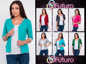 Elegant-Women-039-s-Cardigan-Jacket-Style-3-4-Sleeve-Blazer-Shrug-Sizes-8-18-8368