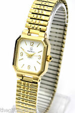 Ladies New Gold Tone Stainless Steel Expander Womens Watch, White Face, One Size