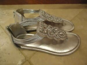 Justice girls silver sandals - size 2