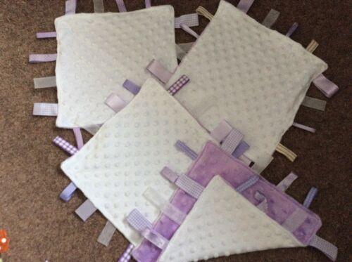 Comfort Fleece Ribbon//Tag Blanket Lilac And White Dimple Fleece Handmade