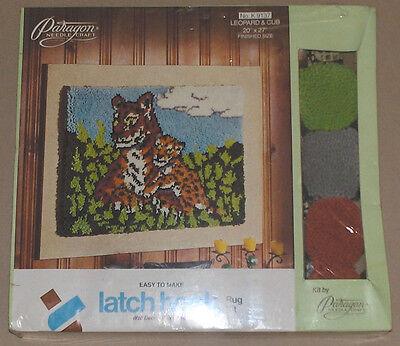 "1977 Paragon ""Leopard & Cub"" Latch Hook Rug Kit 20x27"" Unopened"