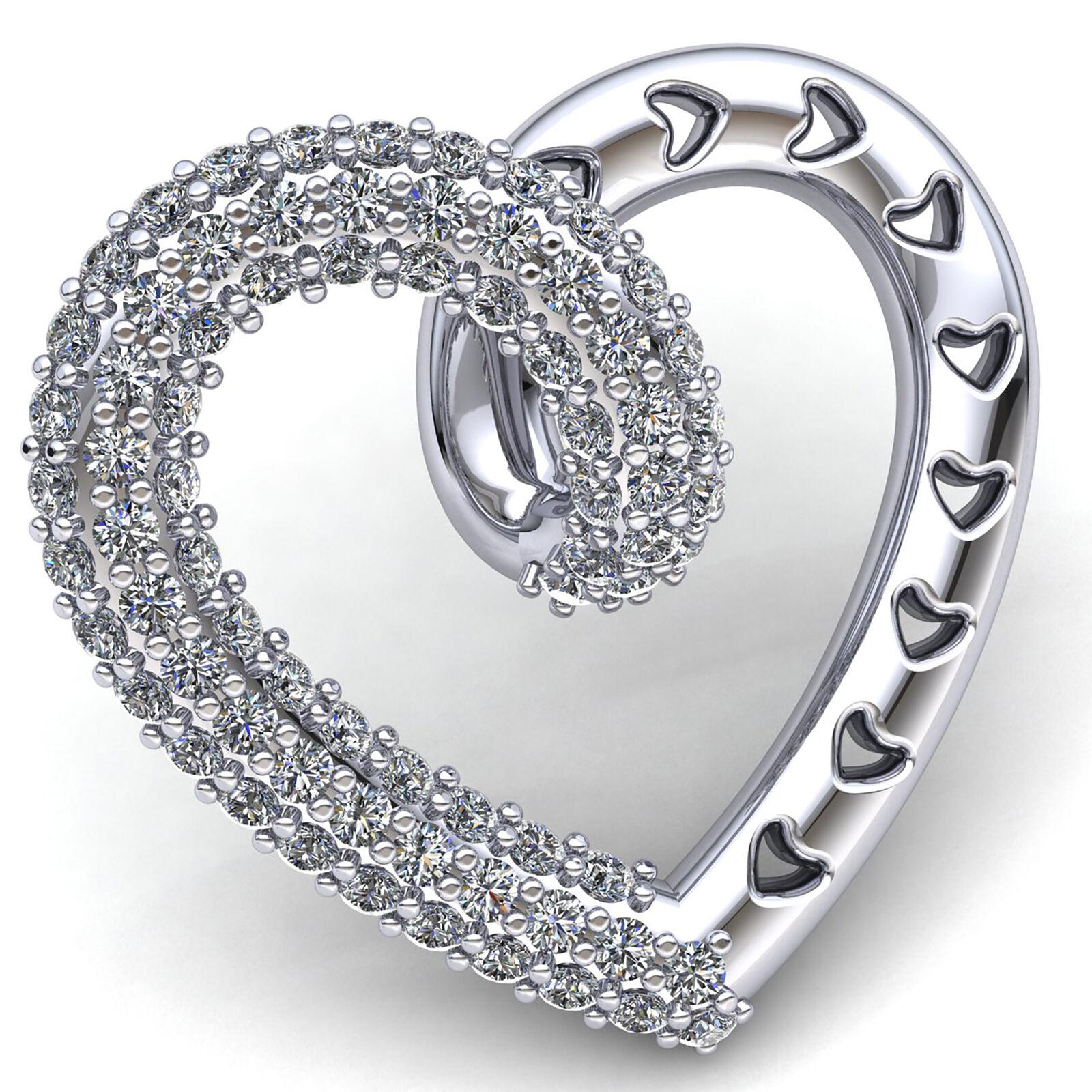 Genuine 1.0carat Round Cut Diamond Women's Valentine Heart Pendant 14K gold