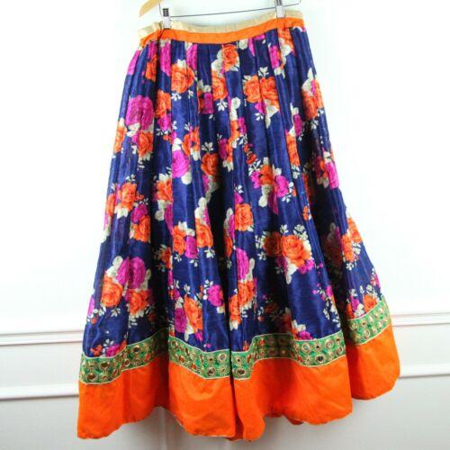 Indian Lehenga Skirt Heavy Fabric Blue Floral Mirr