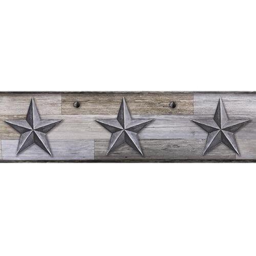 New Primitive Rustic Farmhouse Whitewash GRAY SHIP LAP STAR Wallpaper Border