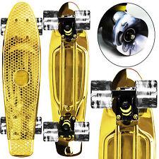 "ANODIZE GOLD / SWIRL WHEELS Mini 22"" Retro Cruiser PENNY STYLE SkateBoards NEW!"