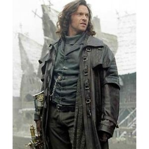 Men's Steampunk Gothic Leather Trench Coat Jacket Hugh Jackman Van ...