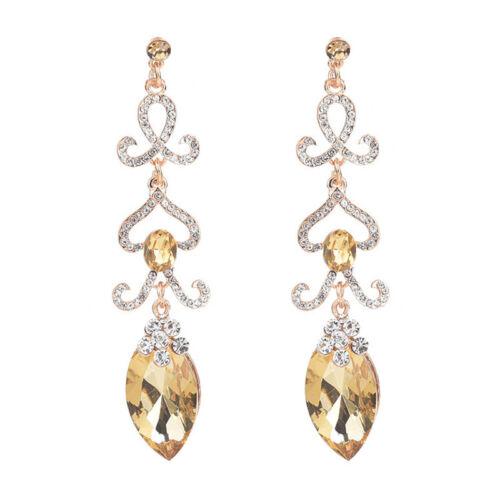 Femme Cristal Strass long Dangle Ear Stud Boucles d/'oreilles Mariage Fête Bijoux