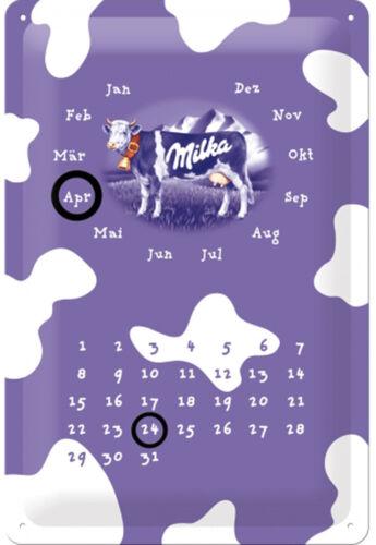 Milka Kuh ewiger Kalender Blechschild 20cm x 30cm Schild geprägt 22125 Neu