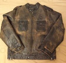 VTG! ARIZONA Genuine Distressed Brown 100% Real  Leather  Biker Jacket Mans Sz M