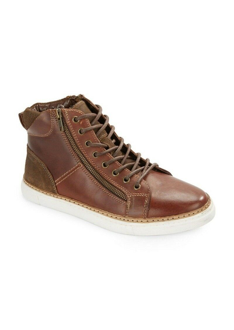 Kenneth Cole REACTION Mens' Trace Ur Step Leather High-Top Sneakers Brown SZ 12