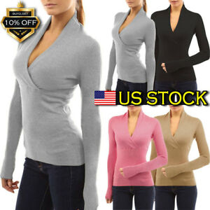 Women-Long-Sleeve-V-Neck-Bodycon-Blouse-Tops-Ladies-Casual-Slim-Fit-Tee-Shirt-US