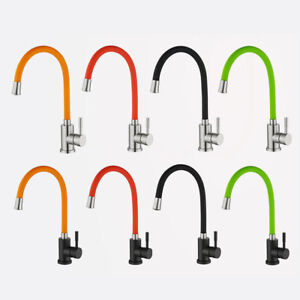 4-Color-Soft-Rotate-Tube-Brass-Body-Kitchen-Sink-Single-Handle-Mixer-Faucet-Taps