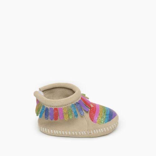 NIB Baby Minnetonka Moccasins Love One Another Rainbow Size 0 FREE SHIPPING