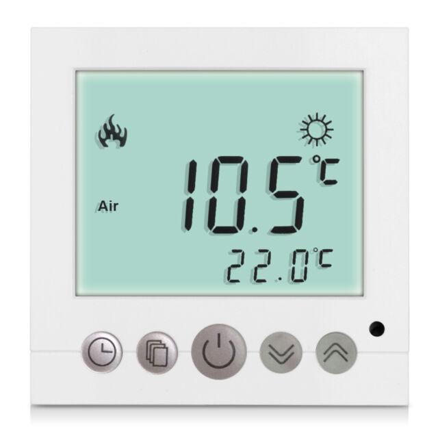 16A Digital Thermostat Raumthermostat weiss programmierbar Fußbodenheizung Weiß