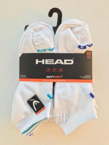 433460XGMX Head Swift-Dry White 10 Pack Men/'s Socks Size 6-12