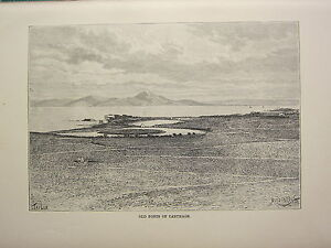 c1890-ANTIQUE-PRINT-OLD-PORTS-OF-CARTHAGE