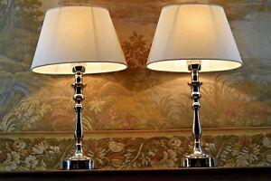 "2 cromo-mesa-lámparas, plata ""helle textil-paraguas"" 42 CM, 2 unidades, nuevo, Top"