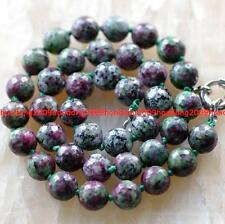 10mm facted Natural RUBY IN ZOISITE Round beads Necklace 18''