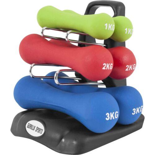 GORILLA SPORTS® Aerobic Hanteln Kurzhanteln Gymnastikhanteln Set Neopren 12 kg