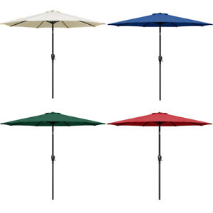 9ft Outdoor Market Table Patio Umbrella with Button Tilt and 8 Sturdy Ribs