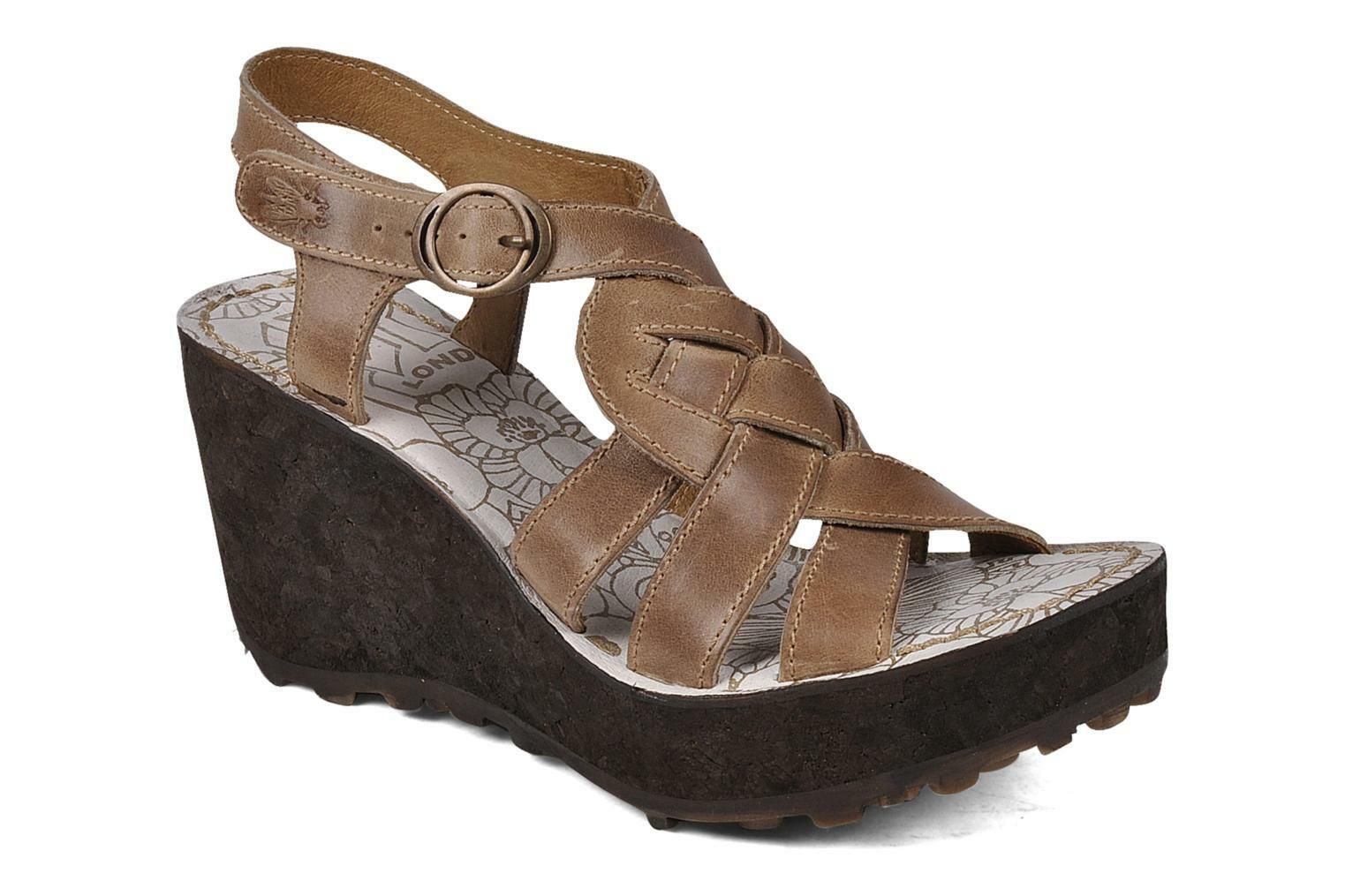 FLY LONDON GRIN DESIGNER BROWN LEATHER PLATFORM WEDGE SANDALS UK 6 EU 39