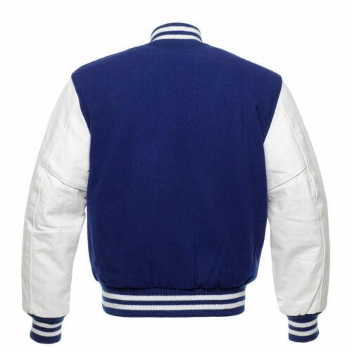Royal Blue Lana Varsity Letterman Bomber con maniche in pelle bianco puro