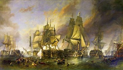 Battle of Trafalgar Multiple Size Canvas Wall Art Poster Print Painting War Ship