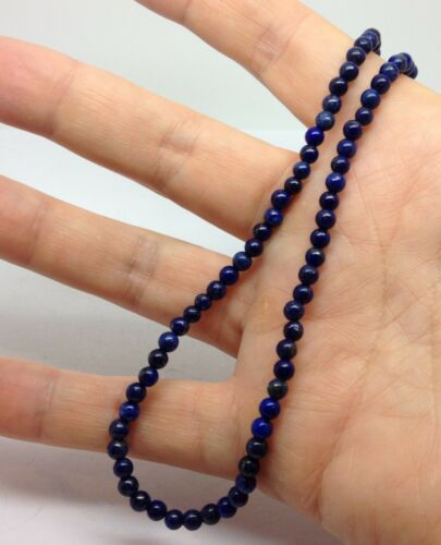 Real Lapis Lazuli Gemstone round bead necklace solid Sterling Silver UK. new
