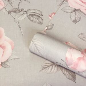 Rosa-Floral-Papier-Peint-9766-Belgravia-Decor-Gris-Rose