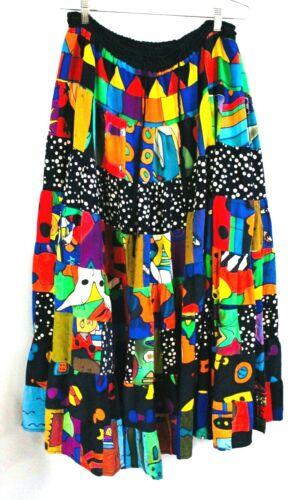 Vintage Silkscapes Skirt 1980s Pop Art Large Color