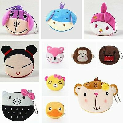 Women Lady Girl Mini Plush Cartoon Bag Zip Coin Purse Case Handbag Wallet Pouch