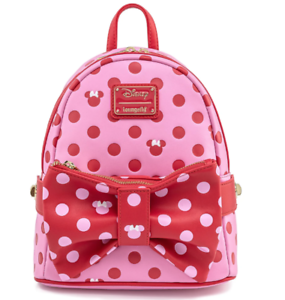 Loungefly Disney Minnie Mouse Pink & Red Polka Dot Bow Mini Backpack with Fanny