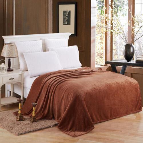 Warm Throw Super Soft Plush Velvet Blanket Home Bed Fleece Twin Queen King