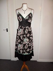 NEW-100-Silk-Ted-Baker-Cocktail-Party-Dress-Size-2-UK-8-10-Wedding-Evening