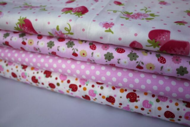 "4 pcs 12"" x 8"" 100% COTTON PATCHWORK FABRIC Pink Strawberry m4 *Best Buy*"