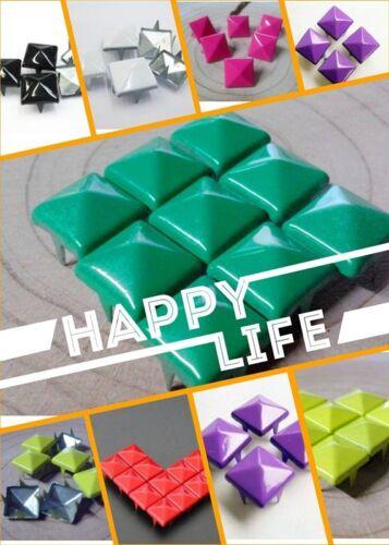DIY100pcs 9mm Square Pyramid Punk Spike Studs Spots Rivet Leathercraft  7 colors