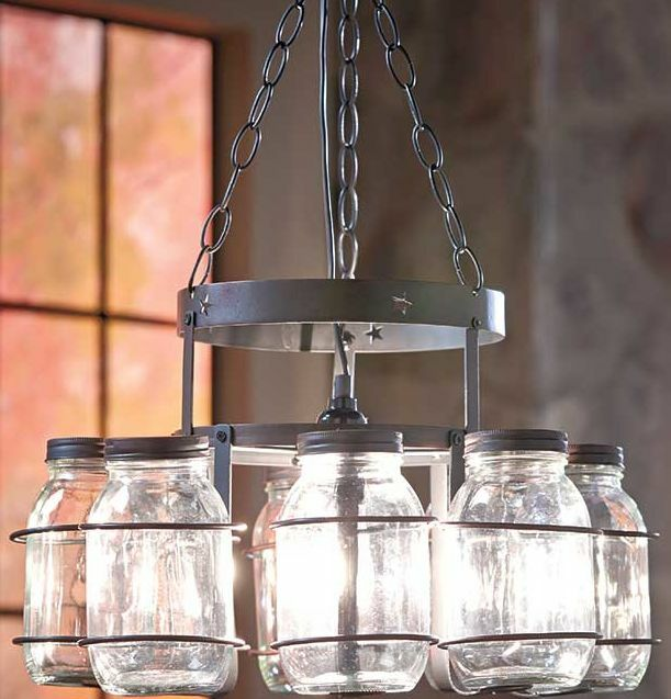 Canning Jar Chandeliers Ceiling Light Lamp Fixture Rustic Wrought Iron Hanging Chandelier With Jars Ebay