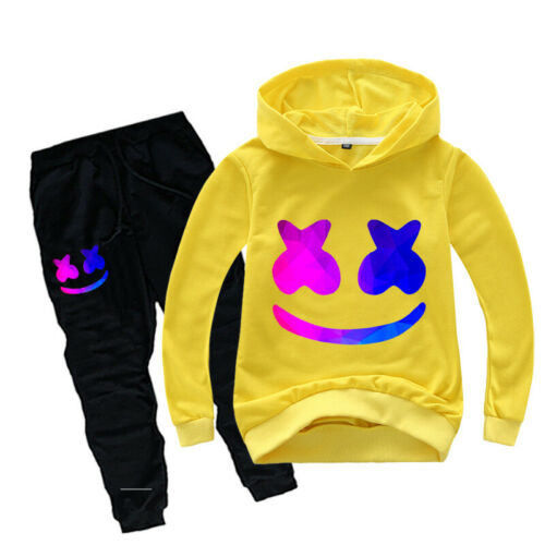 Pants DJ Marshmello Girls Boys 2pcs Sets Outfit Kids Hooded Tops T-shirt Hoodie